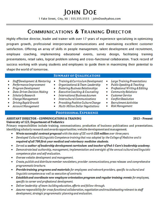 Communications Resume Example - Training Director