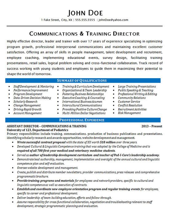 communication resume