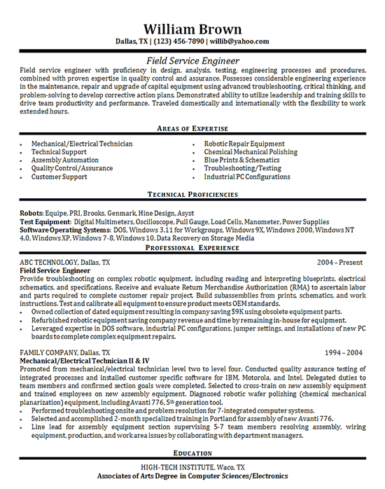 medical field resume example