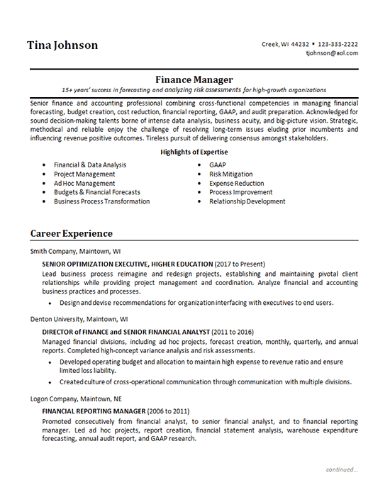 example finance resume objective