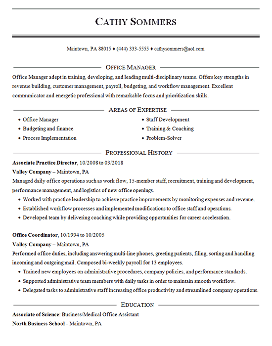 office job resume skills