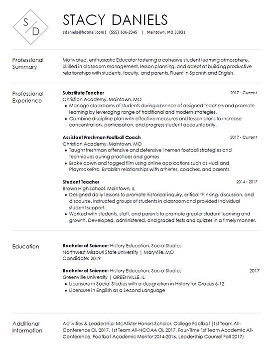 education resume intro
