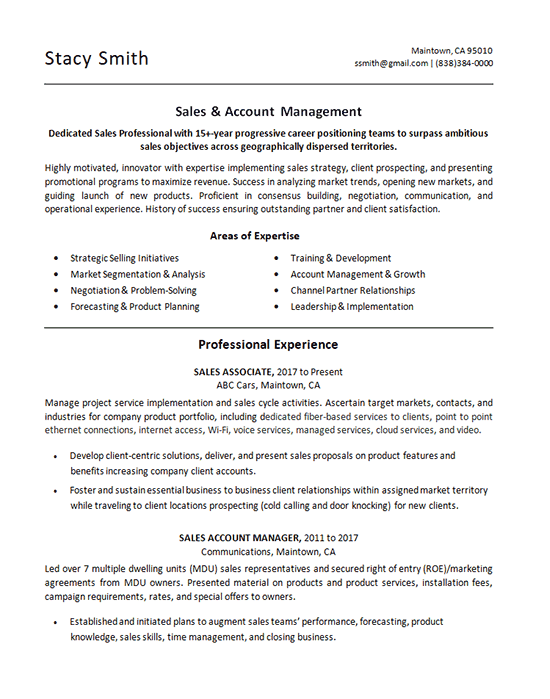resume examples for sales associate