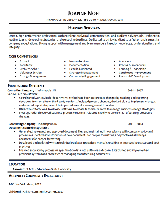 human resource sample resume
