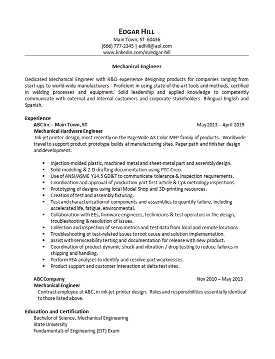 resume about mechanical engineer