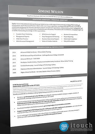 Resume Services - Example Resumes for EA  PA - example resumes australia