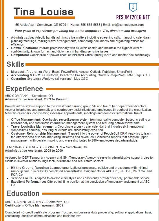 Administrative assistant resume samples 2016 - Choose it!