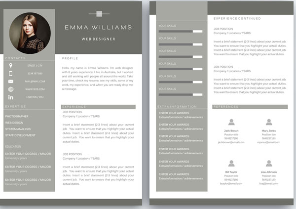 50+ Awesome resume templates 2016 \u2022 - best designed resumes
