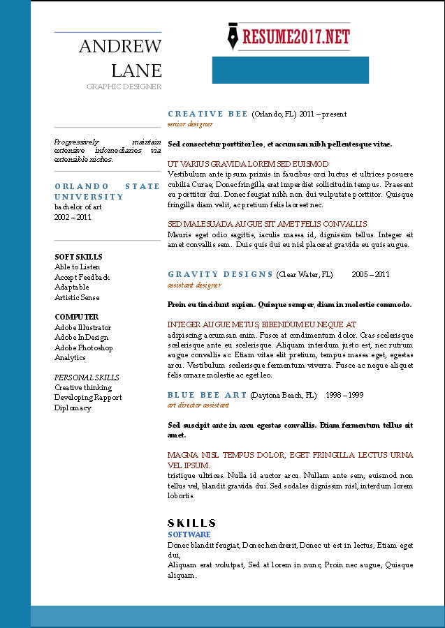good examples of resumes 2017