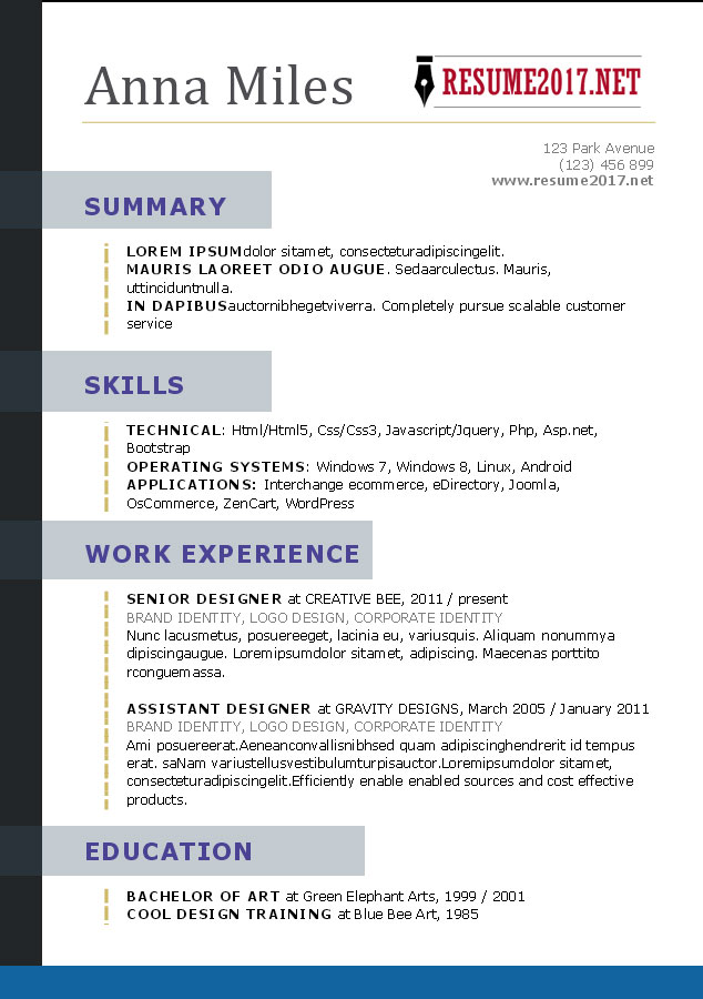 RESUME FORMAT 2017 - 16 free to download word templates - Sample Of Resume Templates