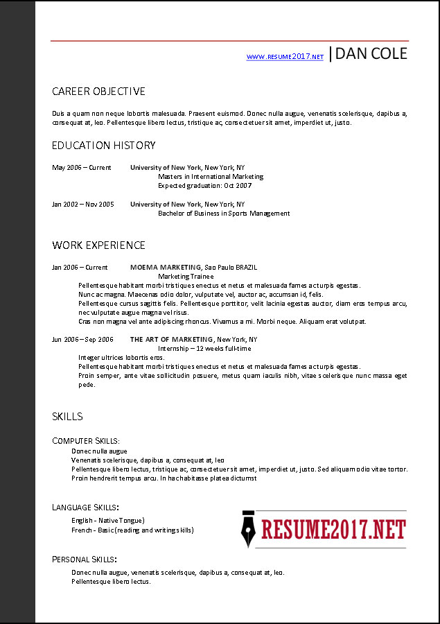 FREE RESUME TEMPLATES 2017 \u2022 - What Is The Format For A Resume
