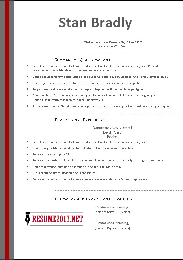 FREE RESUME TEMPLATES 2017 \u2022 - It Professional Resume Template