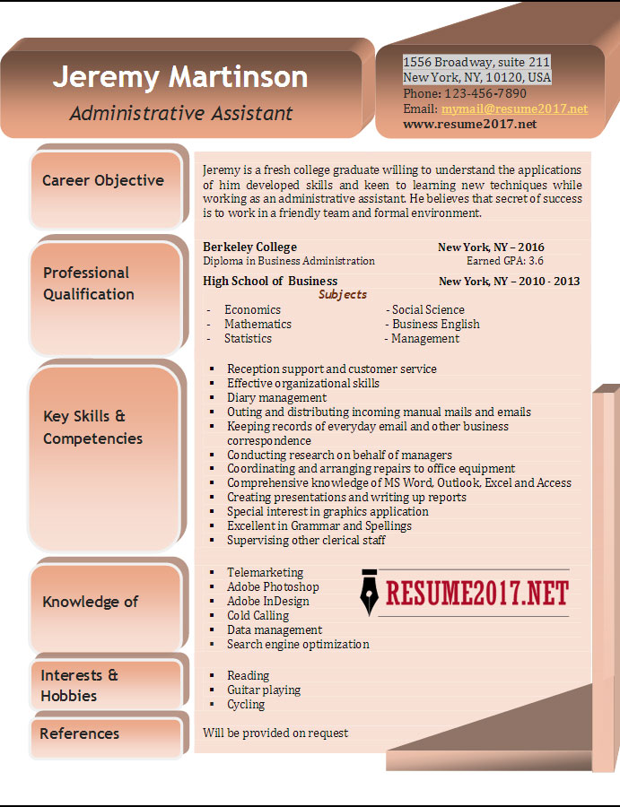 best resume examples for administrative assistant