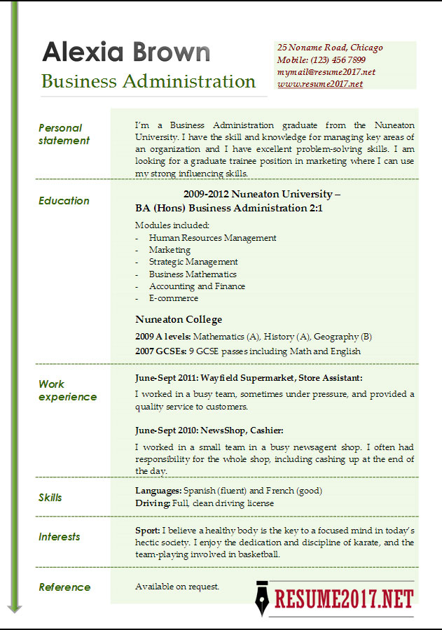 Business Administration Resume Examples 2017 \u2022