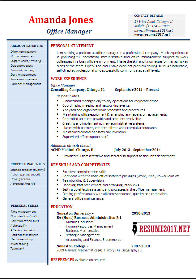 Office manager resume examples 2017 \u2022