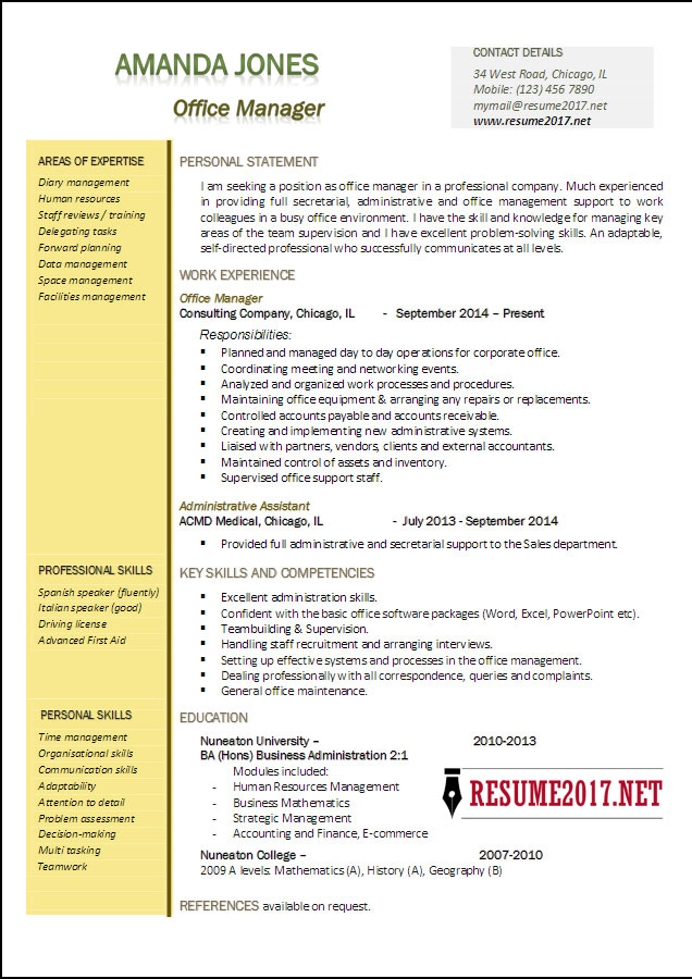 sample resume office manager position