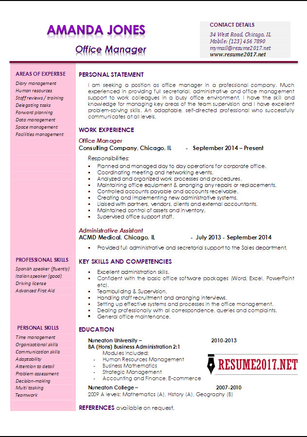 Office manager resume examples 2017 \u2022 - Office Manager Skills Resume