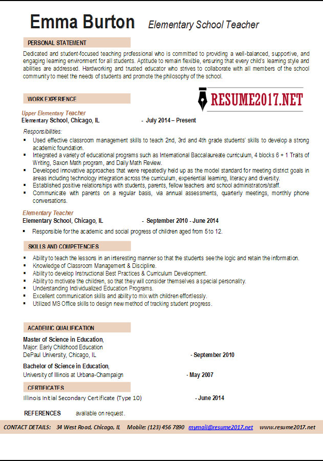special education teacher resume examples 2017
