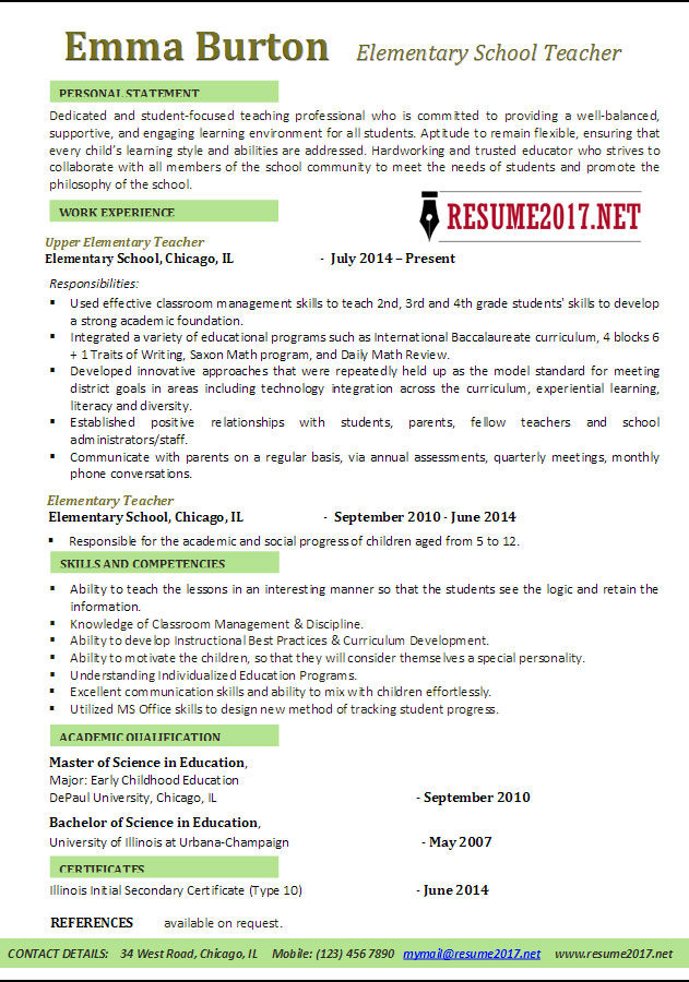 Elementary School Teacher Resume Examples 2017 \u2022 - Resume Template Education