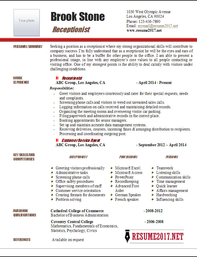 Receptionist Resume Example 2017 \u2022