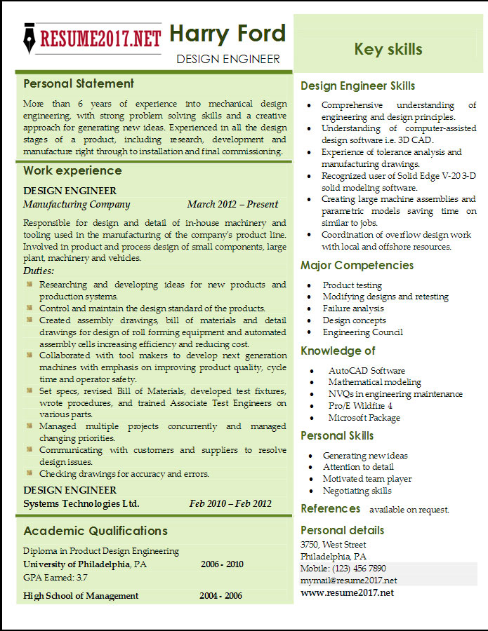 Design Engineer Resume Templates 2017 \u2022