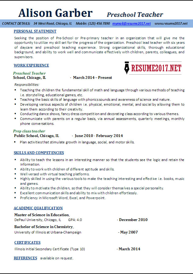 Preschool Teacher Resume Samples 2017 \u2022 - latest resume format for teachers