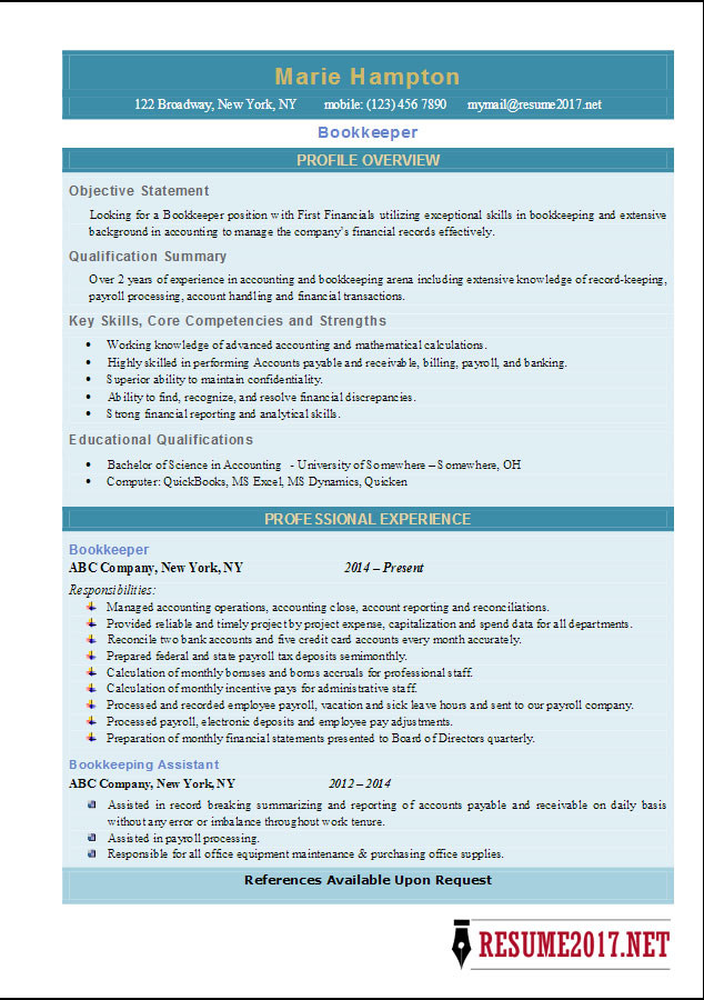 Latest Bookkeeper Resume 2017 \u2022 - bookkeeping resume examples