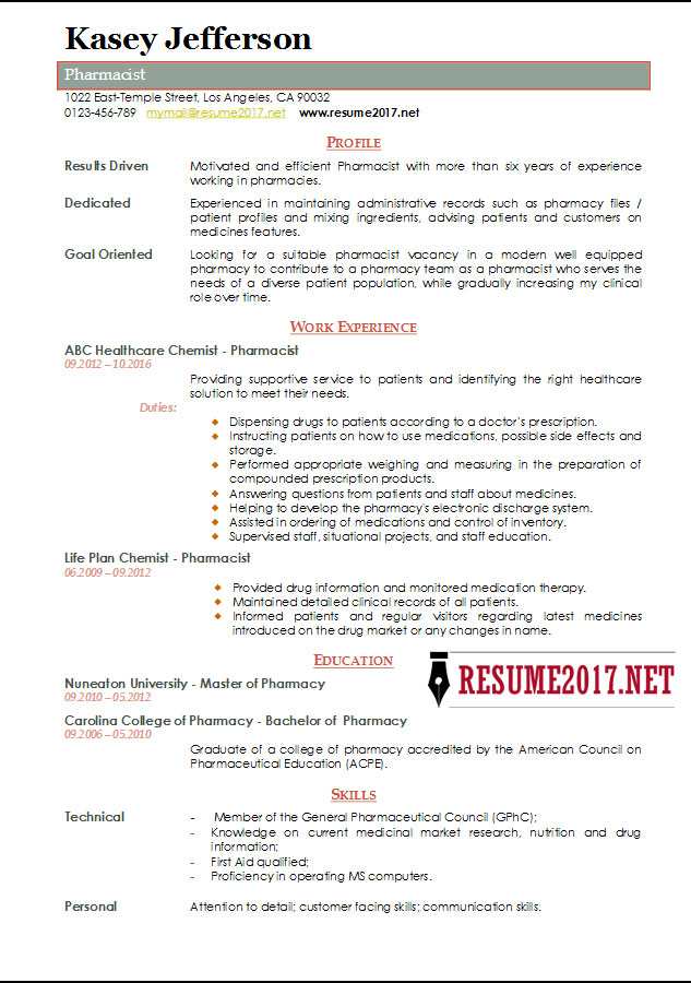 Pharmacist Resume 2017 Templates \u2022