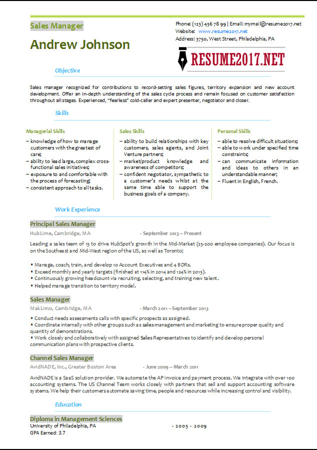 Sales Manager Resume Template 2017 \u2022