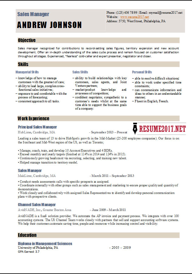 ... Sales Manager Resume Template 2017 U2022   Recruiting Manager Resume ...