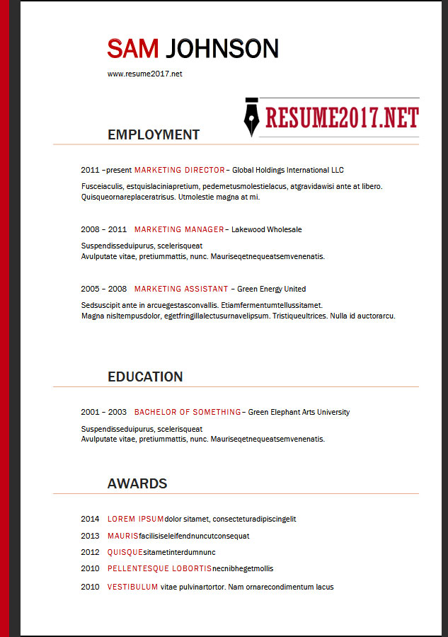 resume examples 2018 money