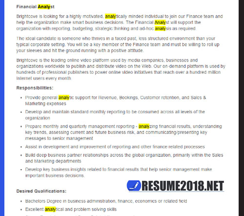 Resume 2018 KEYWORDS - ATS optimization - Resume 2018