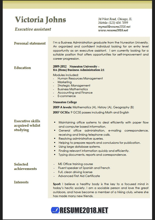 executive assistant resume samples 2018