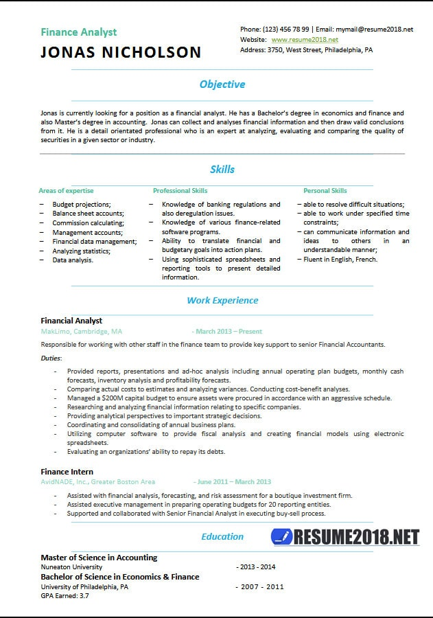 finance resume examples 2018