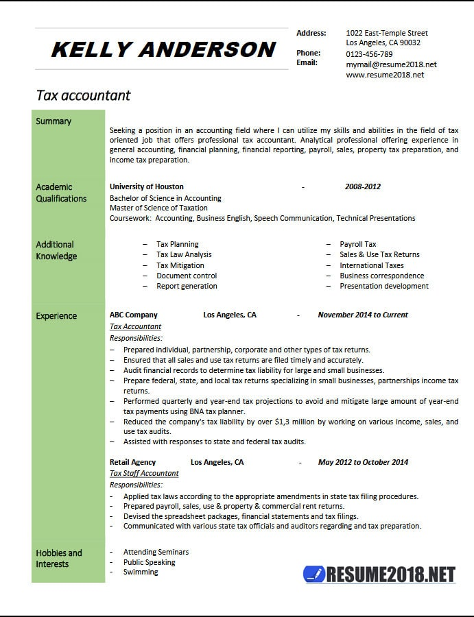 Tax Accountant Resume Example 2018 - Resume 2018 - tax accountant resume sample