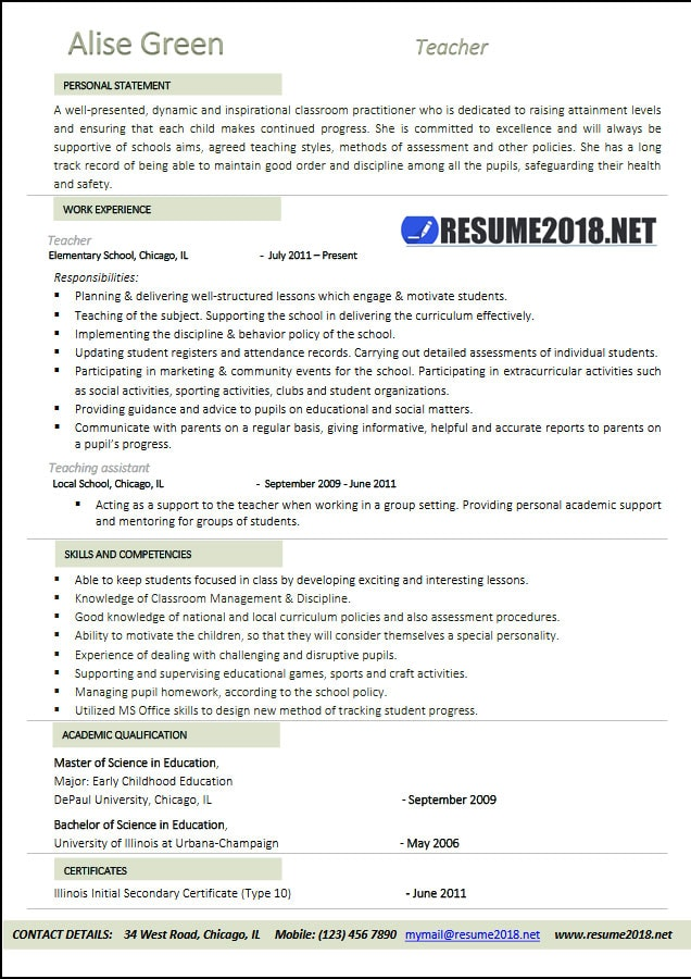 Teacher Resume 2018 Examples - Resume 2018