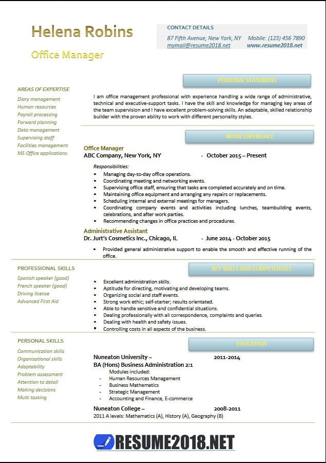Office manager 2018 resume samples in Word - Resume 2018