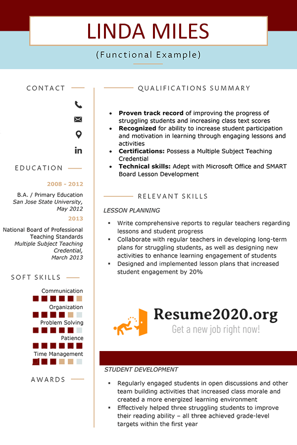 example of a functional resume format