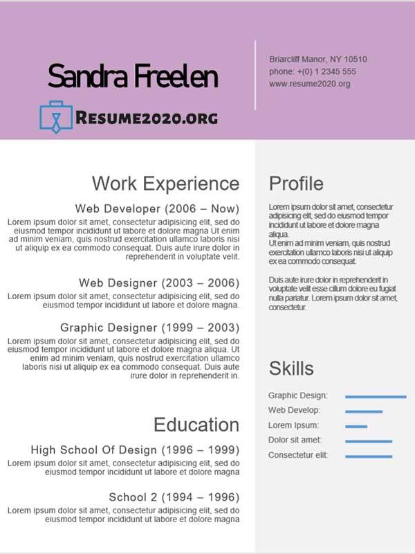 example resume layout