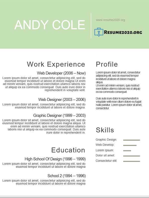 using a template for a resume