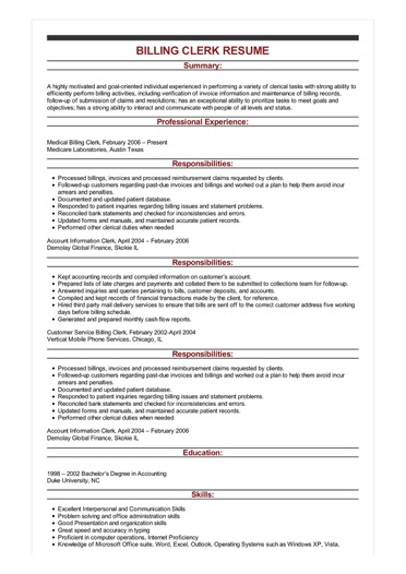 sample records clerk resume