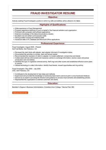 credit investigator resume sample