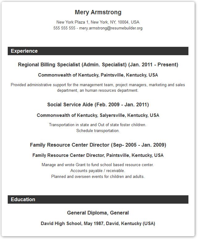 Resume Format - Resume Builder with examples and templates - show resume format