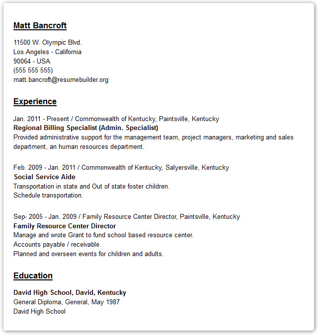 An Example Of Resume Resume For Preschool Teacher Example Resume
