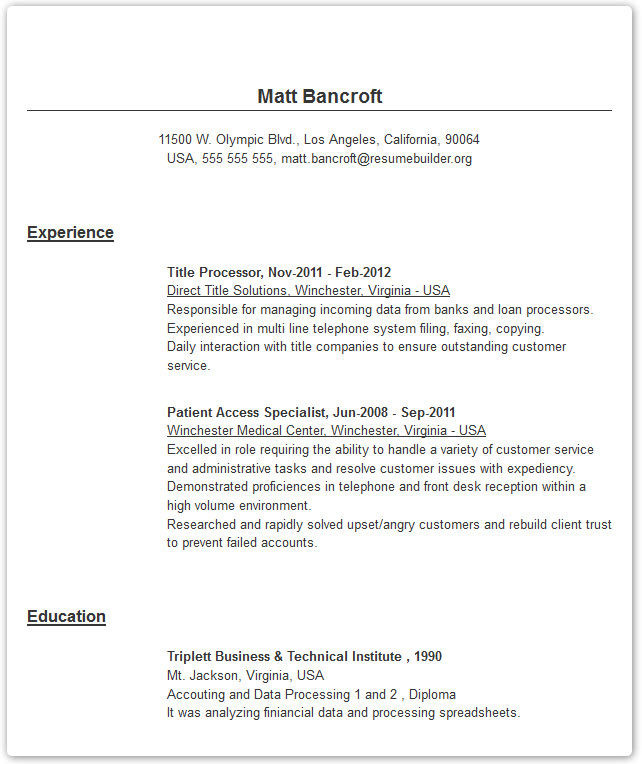 Professional Resume Templates - Resume Builder with examples and - Electronic Resume Builder