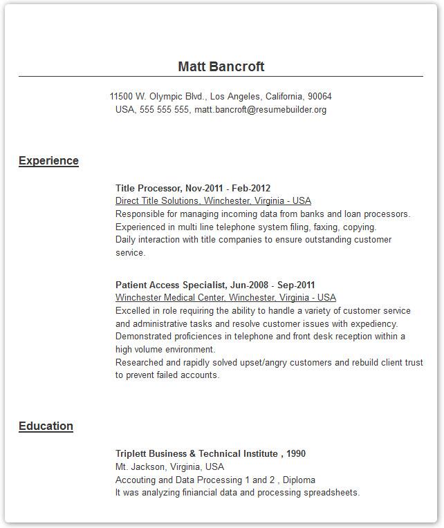 resume builder bold