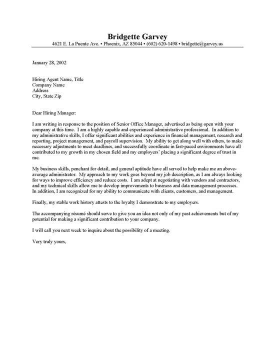Cover Letter For Administrative Assistant Job – Executive Letter Template