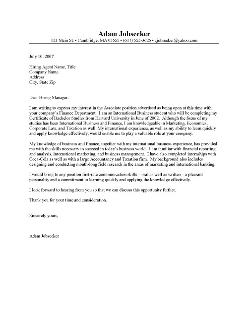 Cover Letter Examples For Sports Internship | Biodata Format For ...