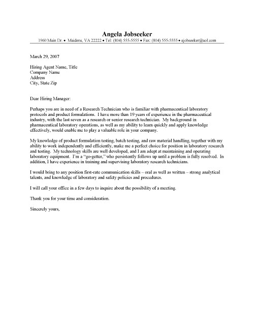 good cover letter lab technician Engineering technician cover letter engineering technician cover letter for engineering jobs is a key document that is drafted to the recruiter when.