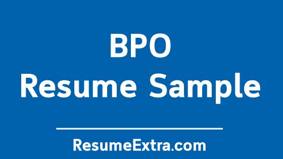 Professional BPO Resume Sample » ResumeExtra